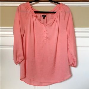 Coral pink three quarter sleeved blouse